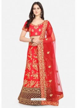 Pretty Red Malay Satin Designer Lehenga Choli