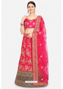 Elegant Rani Pink Malay Satin Designer Lehenga Choli