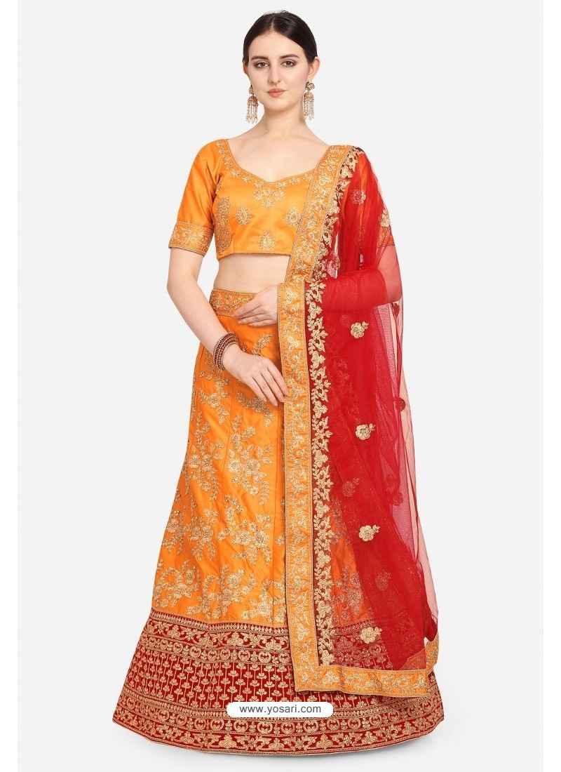 Lovely Mustard Malay Satin Designer Lehenga Choli