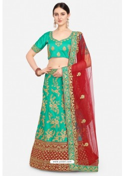 Modern Forest Green Malay Satin Designer Lehenga Choli