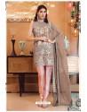 Beige Faux Georgette Pakistani Style Party Wear Suit