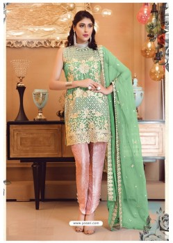 Green Faux Georgette Pakistani Style Party Wear Suit