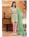 Green Faux Georgette Pakistani Style Party Wear Suit