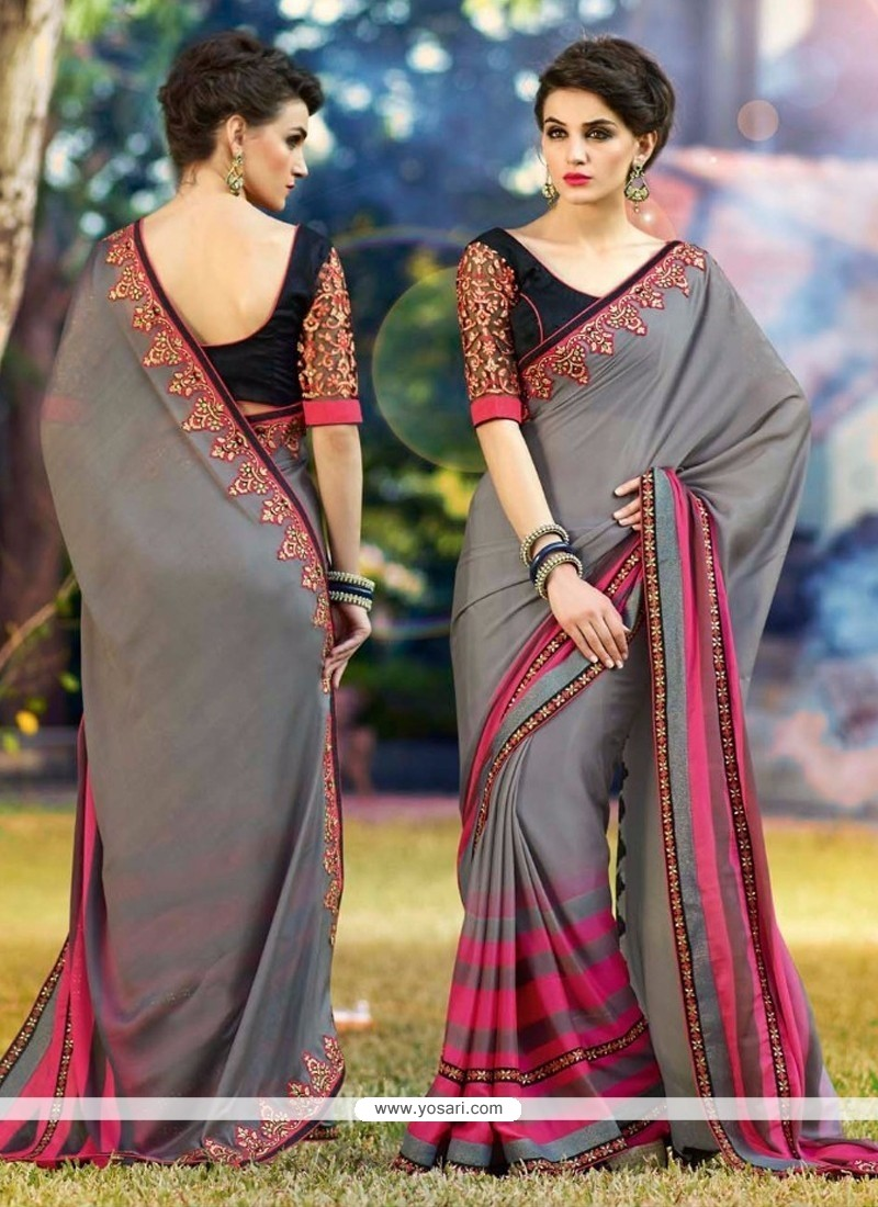 Trendy Georgette Grey Casual Saree