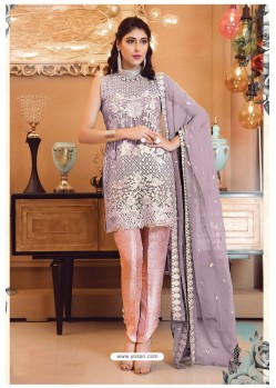 Mauve Faux Georgette Pakistani Style Party Wear Suit