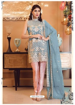 Sky Blue Faux Georgette Pakistani Style Party Wear Suit