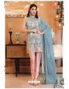 Sky Blue Faux Georgette Pakistani Style Party Wear Suit
