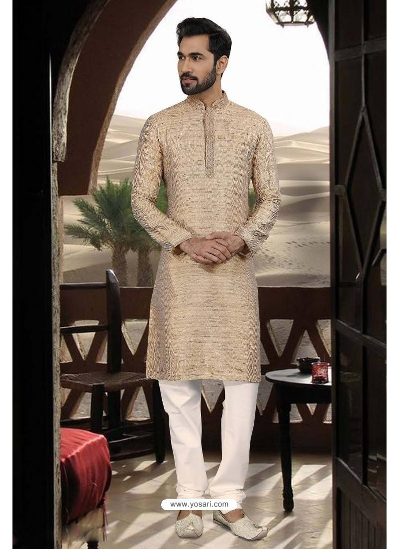 Light Beige Jacquard Traditional Wear Kurta Pajama