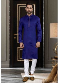 Navy Blue Art Silk Traditional Wear Kurta Pajama