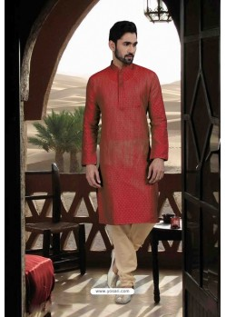Maroon Jacquard Traditional Wear Kurta Pajama