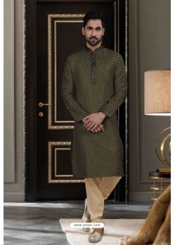 Dark Mehendi Jacquard Traditional Wear Kurta Pajama