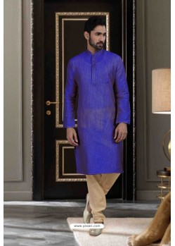 Royal Blue Jacquard Traditional Wear Kurta Pajama