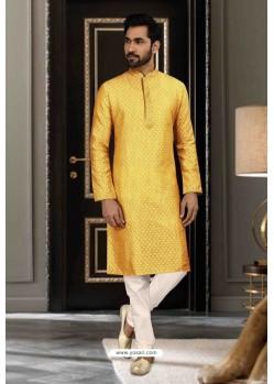 Yellow Jacquard Traditional Wear Kurta Pajama