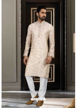 Off White Printed Art Silk Traditional Wear Kurta Pajama