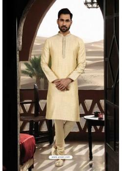 Cream Jacquard Traditional Wear Kurta Pajama