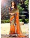 Invaluable Georgette Orange And Brown Designer Saree
