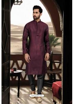 Dark Purple Jacquard Traditional Wear Kurta Pajama