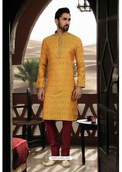 Mustard Jacquard Traditional Wear Kurta Pajama