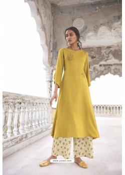 Yellow Readymade Modal Khadi Kurti With Bottom