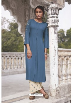 Blue Readymade Modal Khadi Kurti With Bottom
