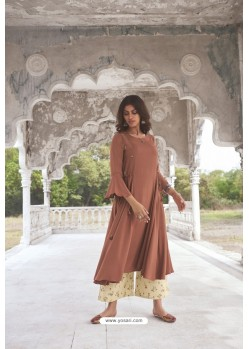 Brown Readymade Modal Khadi Kurti With Bottom