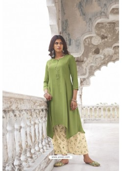 Green Readymade Modal Khadi Kurti With Bottom
