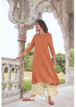 Rust Readymade Modal Khadi Kurti With Bottom