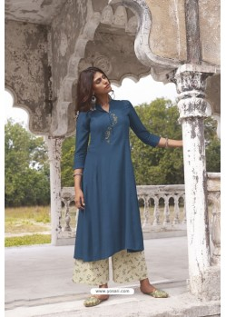 Peacock Blue Readymade Modal Khadi Kurti With Bottom