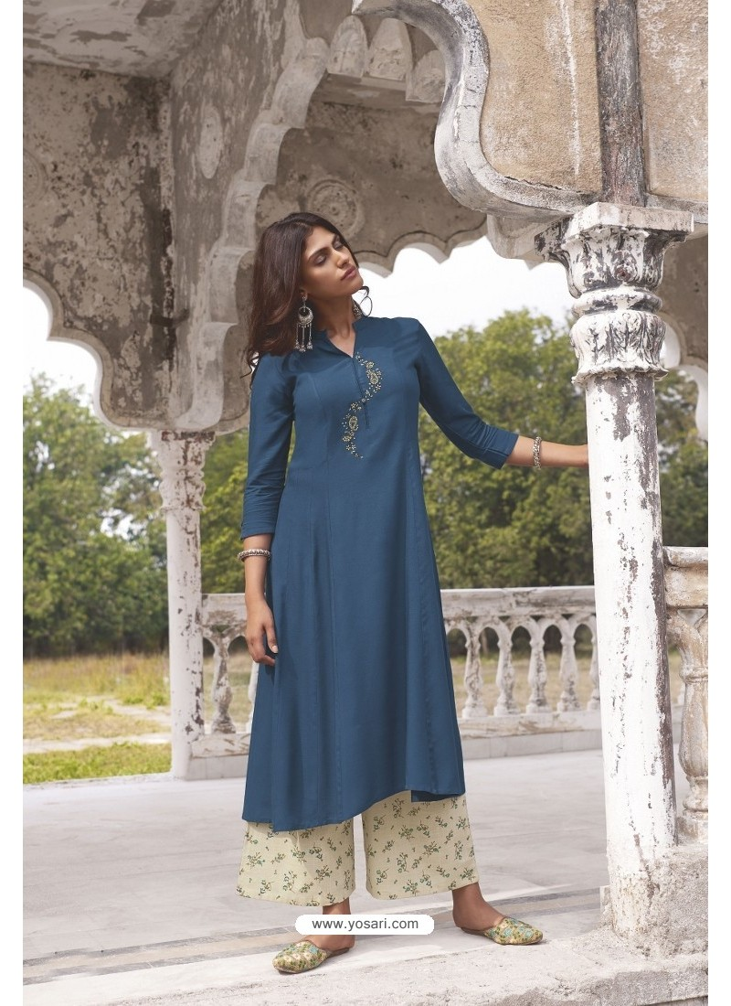 Peacock Blue Readymade Modal Khadi Kurti With Bottom