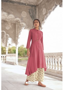 Light Pink Readymade Modal Khadi Kurti With Bottom