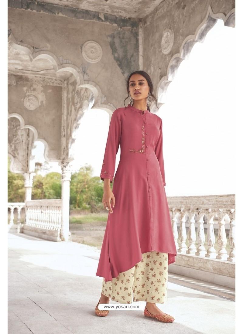 Light Pink Readymade Modal Khadi Kurti With Bottom