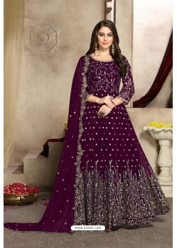 Deep Wine Georgette Party Wear Floor Length Suit