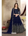 Navy Blue Georgette Party Wear Floor Length Suit