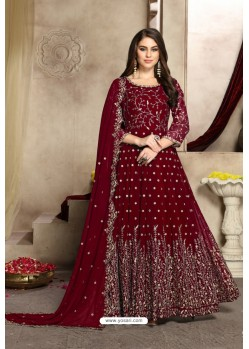 Maroon Georgette Party Wear Floor Length Suit