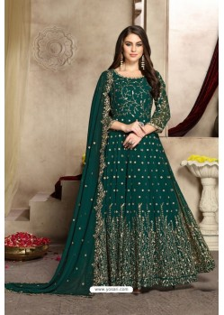 Teal Green Georgette Party Wear Floor Length Suit