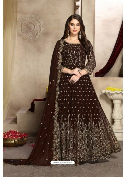 Coffee Brown Georgette Party Wear Floor Length Suit