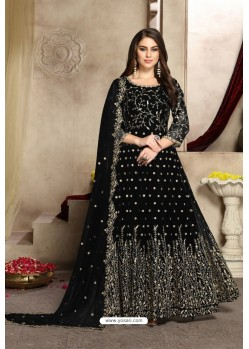 Black Georgette Party Wear Floor Length Suit