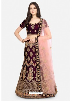 Purple Velvet Party Wear Designer Lehenga Choli