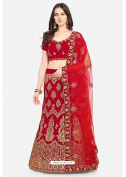 Red Velvet Party Wear Designer Lehenga Choli