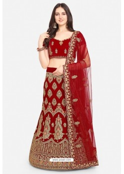 Girlish Maroon Velvet Party Wear Designer Lehenga Choli