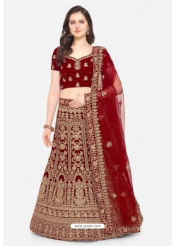 Incredible Maroon Velvet Designer Lehenga Choli
