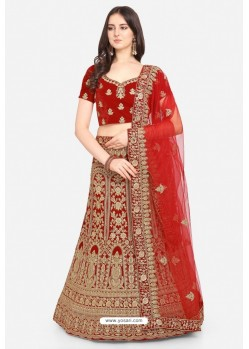 Pretty Red Velvet Party Wear Designer Lehenga Choli