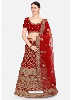 Elegant Red Velvet Designer Lehenga Choli