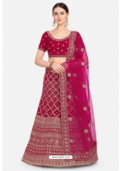 Rani Pink Velvet Party Wear Designer Lehenga Choli