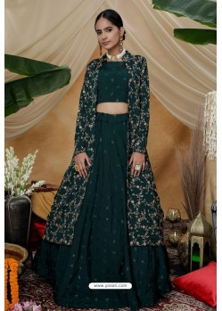 Dark Green Chinon Designer Lehenga Choli with Jacket
