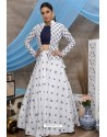 White And Navy Pure Cotton Designer Lehenga Choli with Jacket