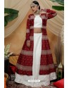 White And Maroon Chinon Designer Lehenga Choli with Jacket