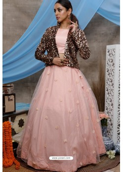 Peach Net Designer Lehenga Choli with Jacket