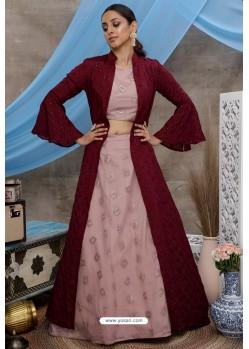 Dusty Pink Net Designer Lehenga Choli with Jacket