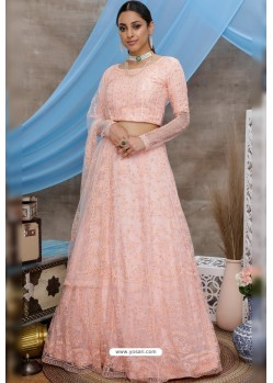 Peach Net Thread Embroidered Designer Lehenga Choli